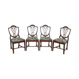 Hepplewhite Style Vintage 1940s Set of 4 Mahogany Shield Back Dining Chairs