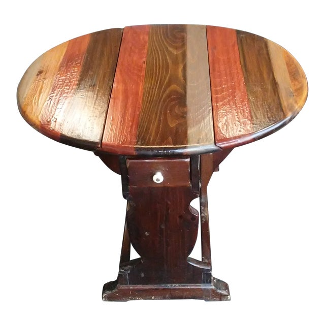 1960s British Colonial Ethan Allen Pine Old Tavern Drop Leaf Table For Sale