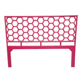 King Size Honeycomb Pink Rattan Headboard For Sale