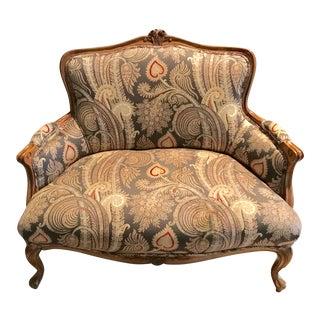 Antique Carved Walnut Upholstered Setee