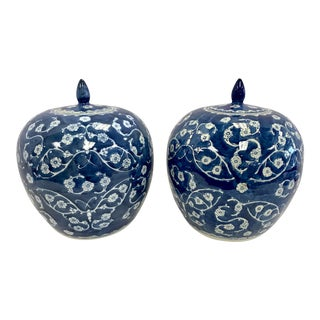 Chinoiserie Blue and White Ginger Jars - a Pair For Sale
