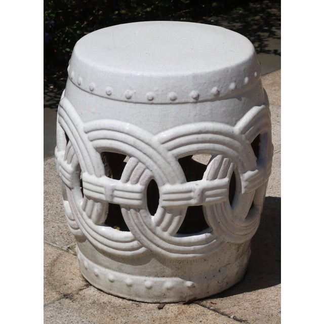 Indian Rings Ceramic Stool For Sale In New York - Image 6 of 6