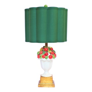 Mid-Century Italian Majolica Cherry Topiary Table Lamp For Sale