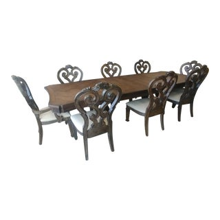 Thomasville Furniture Casa Veneto Pecky Pecan Stella Trestle Dining Table and Chair Set - 9 Pieces For Sale