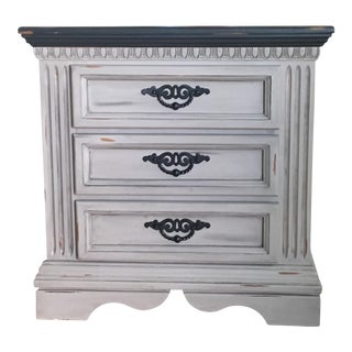 1990s Shabby Chic Distressed Nightstand For Sale
