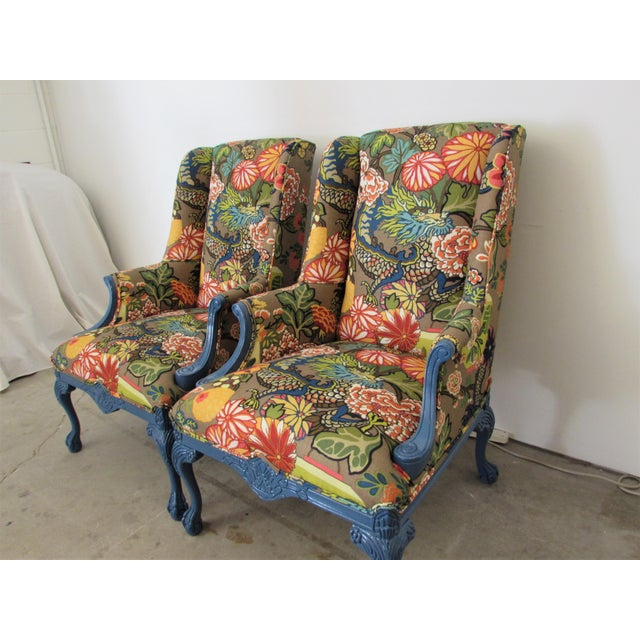Pair of English Lacquered Georgian Style Gainsborough Armchairs For Sale - Image 10 of 11