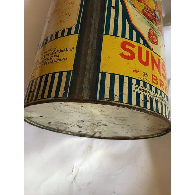 Yellow Vintage Sunshine Brand Fruit Tin For Sale - Image 8 of 11