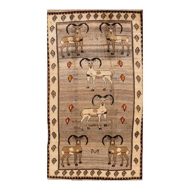 "Apadana - Vintage Pictorial Gabbeh Rug, 5'3"" x 9'7"" For Sale"