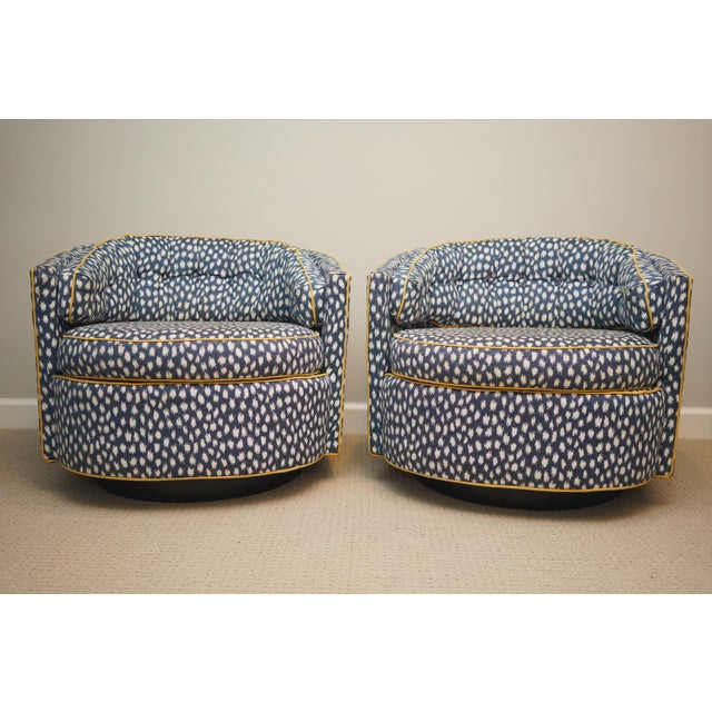 Mid-Century Baughman Style Plinth Base Swivel Chairs - A Pair For Sale - Image 12 of 12