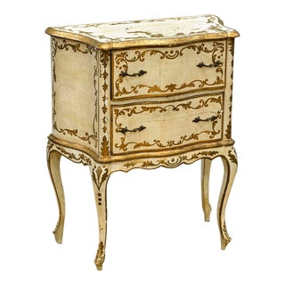 Small Antique Florentine Gilt & Polychrome Wood Side Table Nightstand For Sale