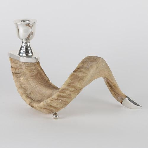 PAIR OF RAM'S HORN AND SILVER CANDLE HOLDERS For Sale - Image 9 of 10