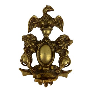 Antique Coat of Arms Brass Hand-Turn Door Bell For Sale