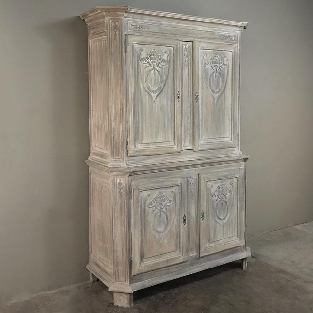 Country 19th Century Country French Louis XVI Stripped Buffet a Deux Corps For Sale - Image 3 of 13