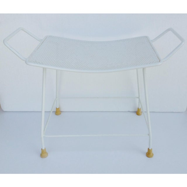 Mid-Century White Enameled Metal Stool For Sale - Image 4 of 11