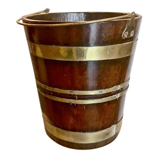 Antique English Mahogany Brass Bound Peat Bucket For Sale