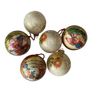 Vintage Decoupage Ornaments S/6 For Sale