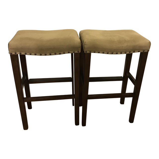 Pottery Barn Manchester Backless Barstools- A Pair - Image 1 of 4