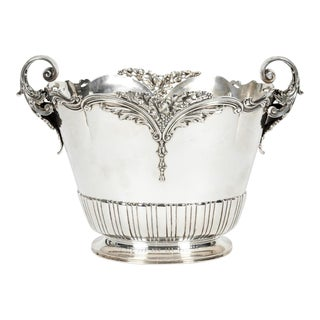 Antique Sterling Silver Two Handles Wine Cooler For Sale