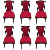 Image of French Art Deco Black Lacquer Dining Chairs - Set of 6 For Sale