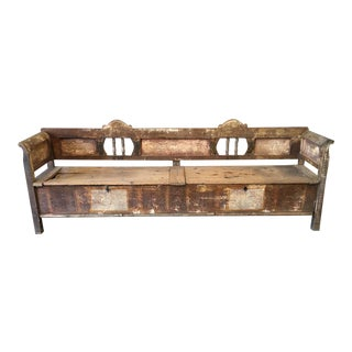 Scandinavian Painted Wood Bench With Storage For Sale