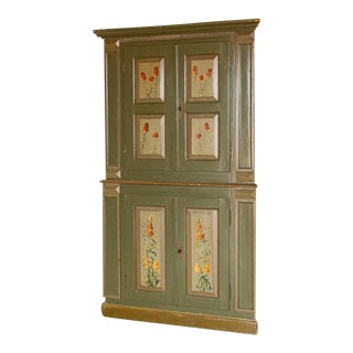 Antique Green Painted Corner Cabinet With Flowers in Panels For Sale