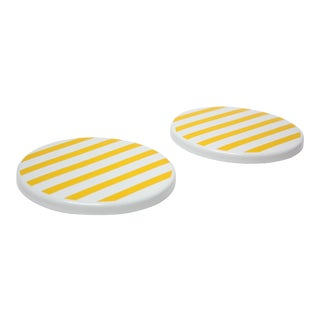 Pair of Scandinavian Modern Yellow Striped Enamel Trivets / Plates For Sale