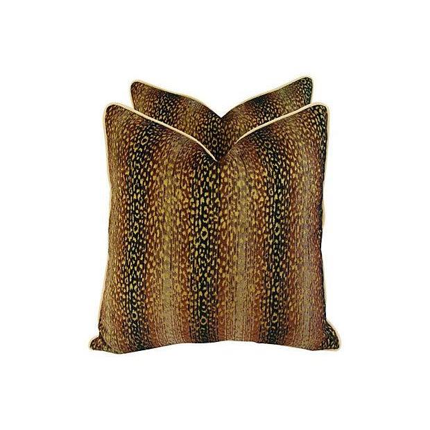 Designer Big Cat Velvet & Chenille Pillows - Pair - Image 1 of 8