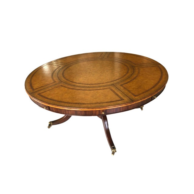 Leather Top Round Dining or Library Table For Sale