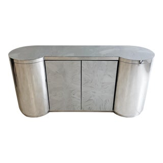 Paul Evans Mirror-Polished Stainless Steel Cylinder Credenza For Sale