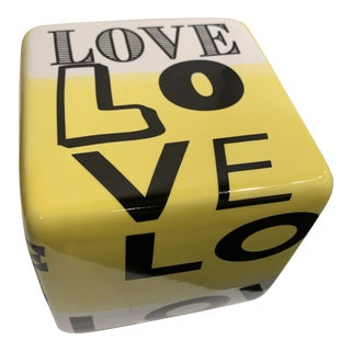 """""""Love"""" Ceramic Wall Cube Sculpture For Sale"""