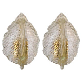 1950s Italian Barovier & Toso Murano Leaf Shaped Sconces - a Pair