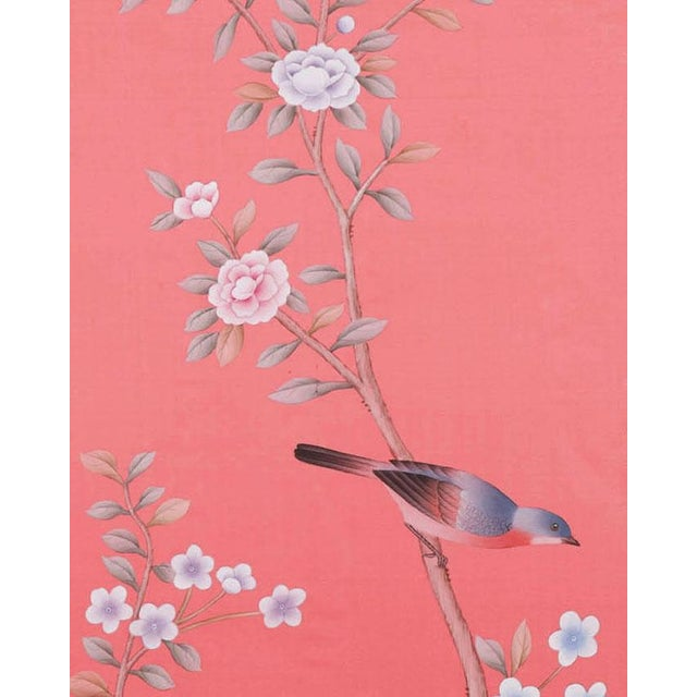 """Chinoiserie Jardins en Fleur Out of Production """"Luton House"""" Chinoiserie Hand-Painted Silk Diptych by Simon Paul Scott – 2 Pieces For Sale - Image 3 of 5"""