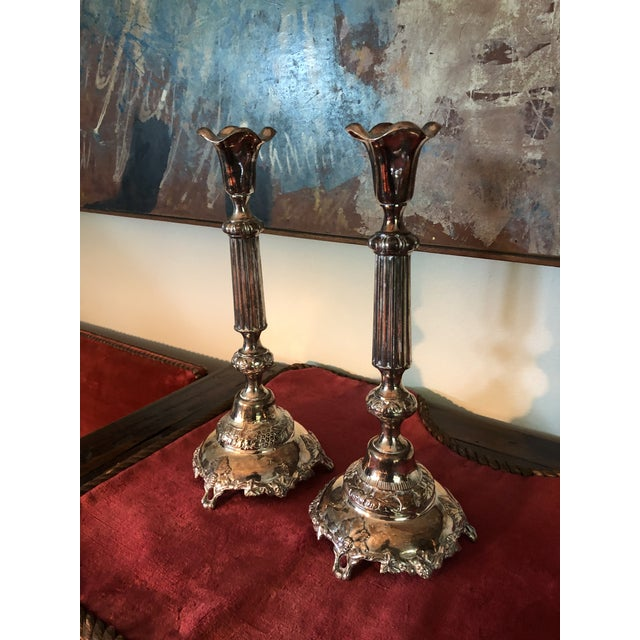 "Pair of 19th Century Polish Judaic Sabbath Sterling Silver Candlesticks. Hallmarked with ""84"" and a headdress looking left..."