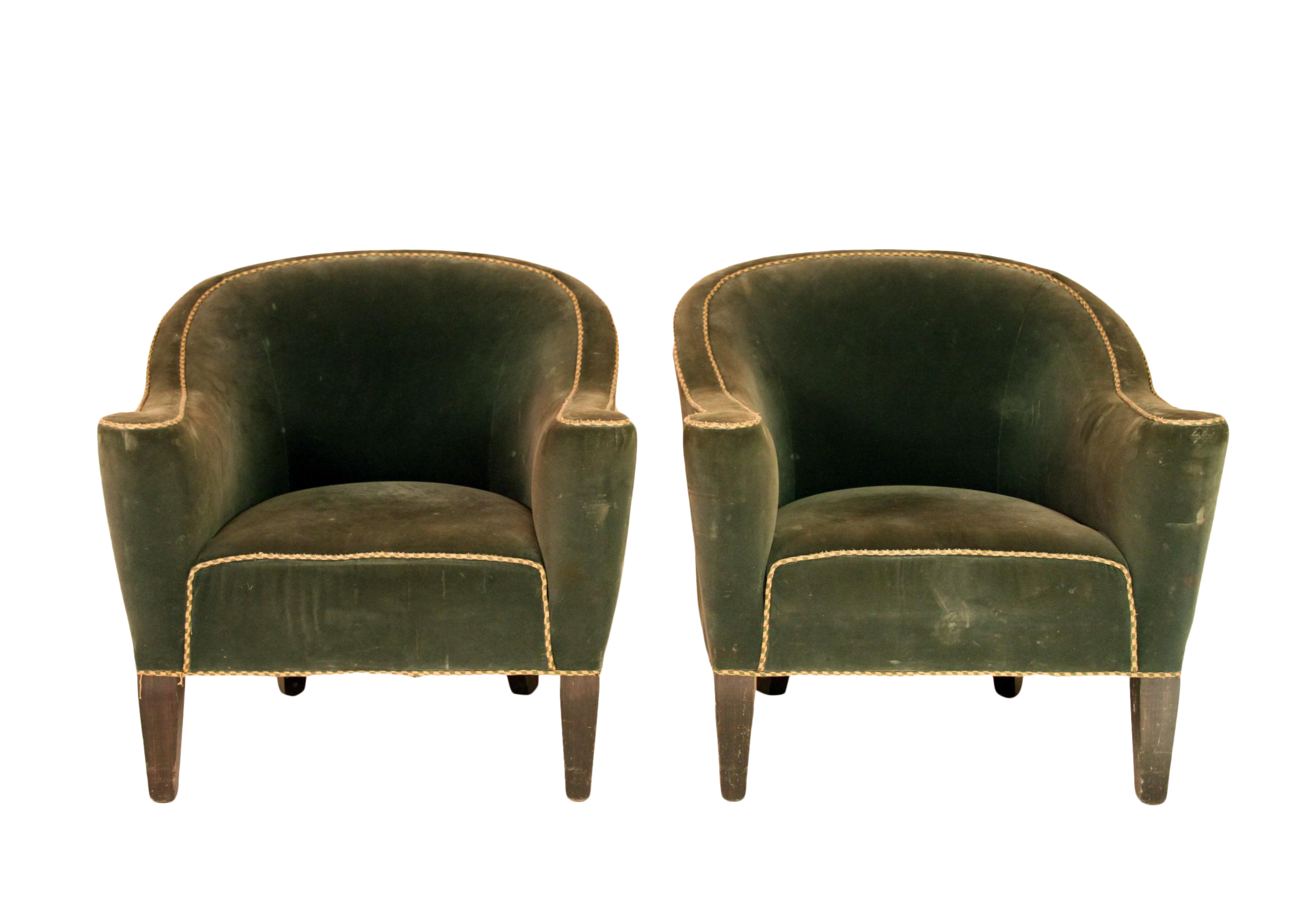 Marvelous Art Deco Round Back Club Chairs   A Pair