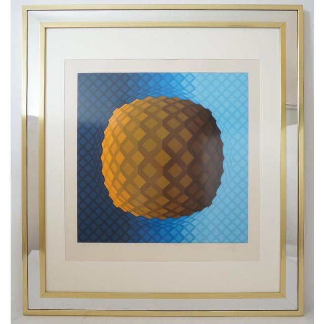 Vintage Vasarely Pencil Signed and Numbered Limited Edition 226/250 Op Art Original Print Custom Mirror Framed For Sale - Image 12 of 12