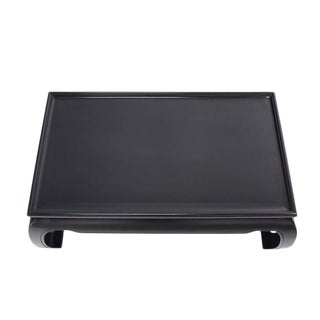 Large Black Lacquer Oriental Style Coffee Table For Sale