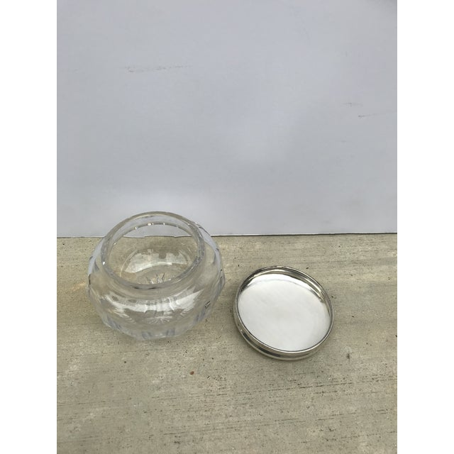 Antique Collectible Crystal Powder Jar /Candy Jar /Container With Sterling Lid Top For Sale In Los Angeles - Image 6 of 13