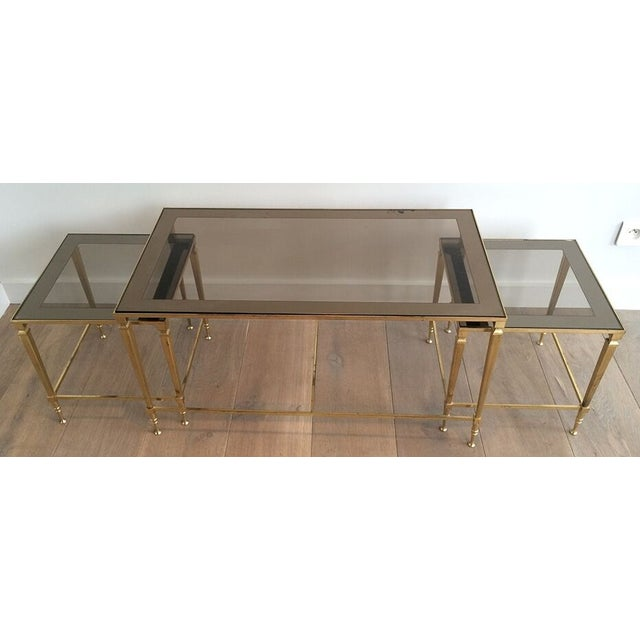 Metal 1940's Nesting Coffee Table With Smoked Portrait Glass For Sale - Image 7 of 7