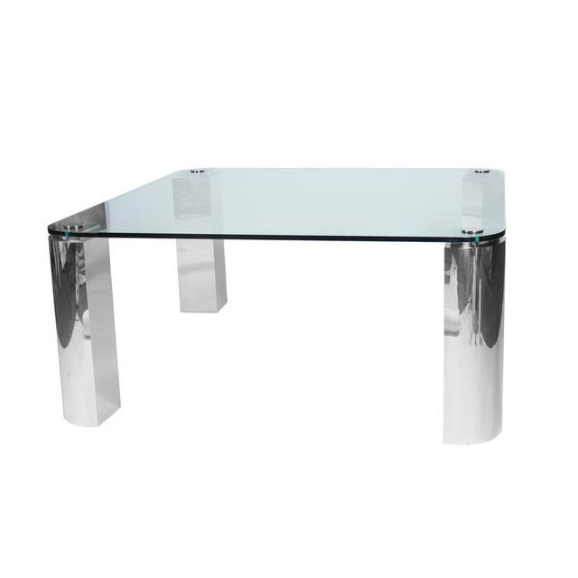POLISHED STEEL AND GLASS DINING TABLE - Image 3 of 6