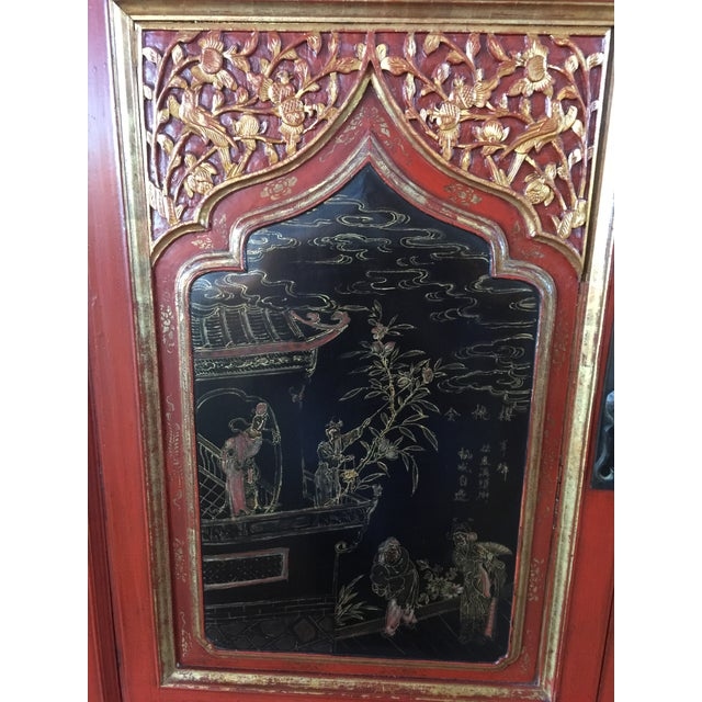Asian Antique Carved Asian Red Lacquer Cabinet For Sale - Image 3 of 11