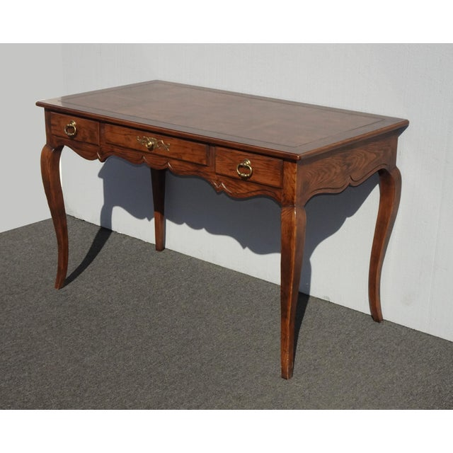 Henredon Vintage French Country Henredon Oak Writing Desk W Three Drawers For Sale - Image 4 of 13