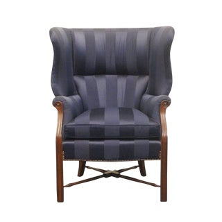 Late 20th Century Vintage Trs Furniture Blue Striped High Bow Back Wing Chair For Sale