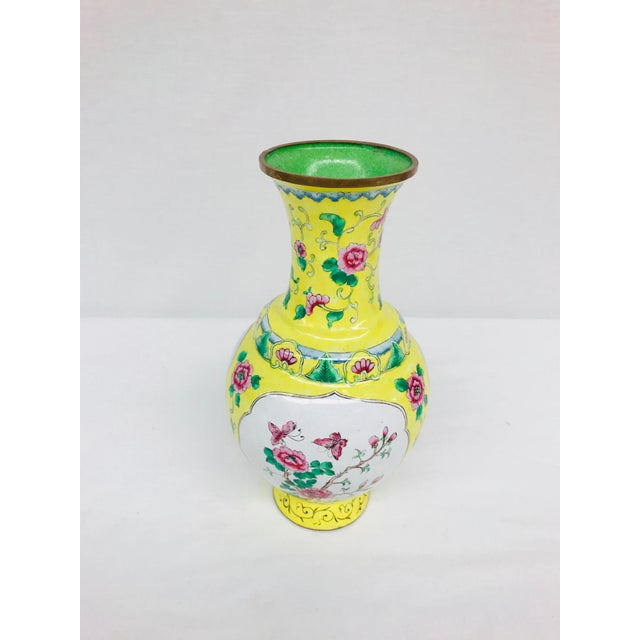 Yellow Cloisonné Floral Vase - Image 8 of 12