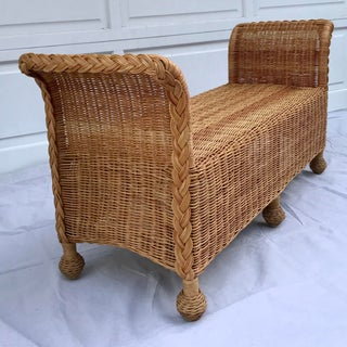 Vintage Mid Century Wicker Bench Preview