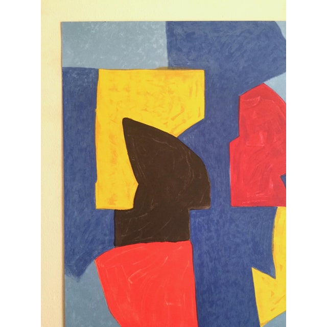 Robert Delaunay Serge Poliakoff Rare Vintage 1970 Mourlot Lithograph Print Modernist Paris Exhibition Poster For Sale - Image 4 of 13