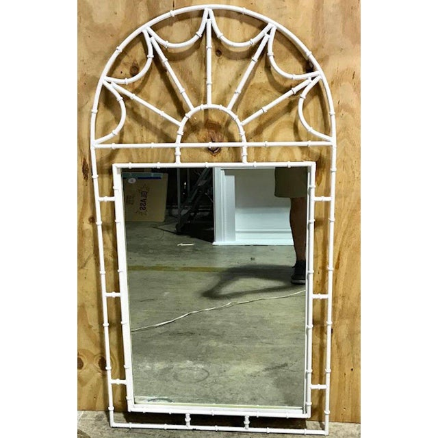 """Faux bamboo iron mirror, in white with domed pierced top, fitted with an inset 25"""" x 43"""" mirror."""