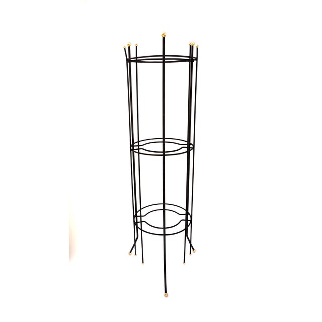 Mid-Century Atomic Era 3-Tier Metal Plant Stand ||Retro/Industrial Chic Black & Gold Tri-Level Vertical Tall Planter Stand || Sputnik Design For Sale - Image 9 of 11