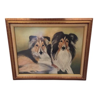 "1990s Realism Framed Pastel Painting, ""Pair of Collie Dogs"""