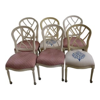 Late 20th Century Vintage Hollywood Regency/Chinoiserie Fretwork Dining Chairs- Set of 6 For Sale
