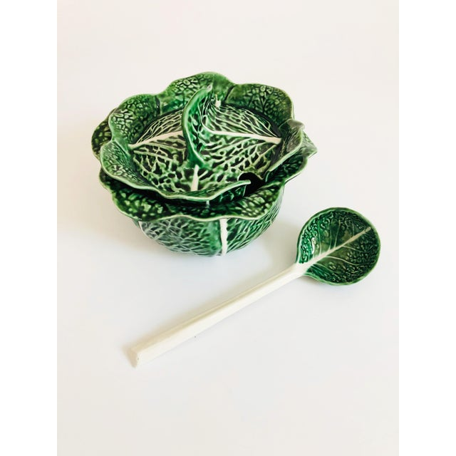 Green Vintage Cabbageware Lidded Serving Bowl For Sale - Image 8 of 13